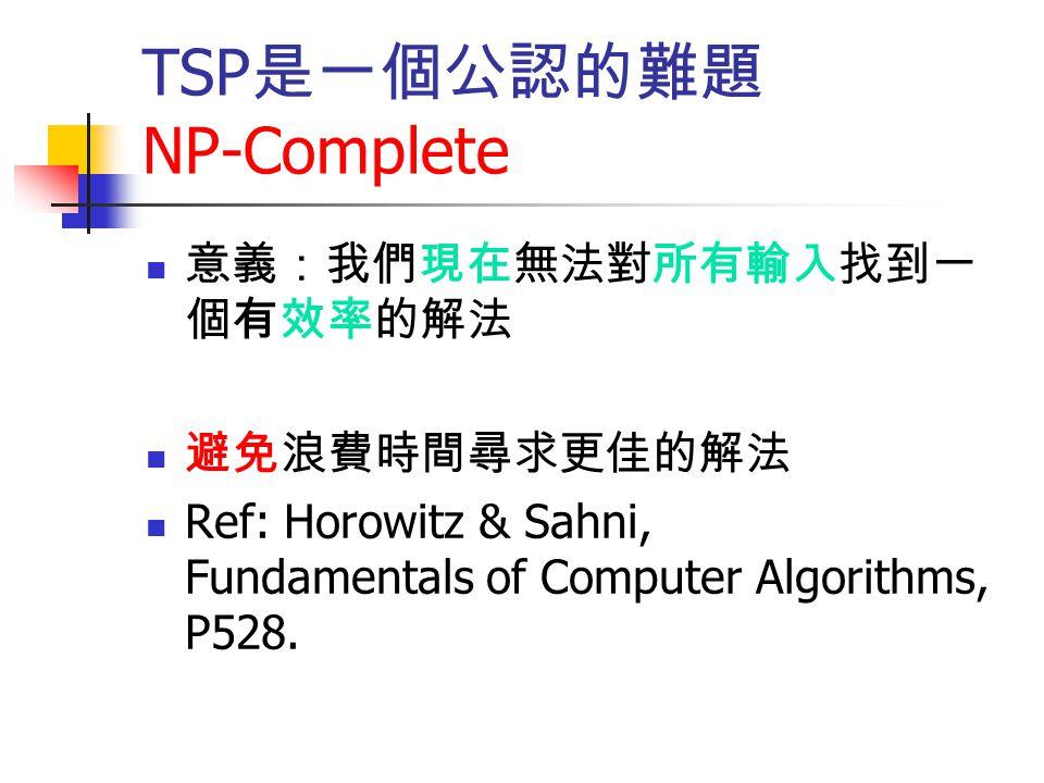 TSP是一個公認的難題 NP-Complete