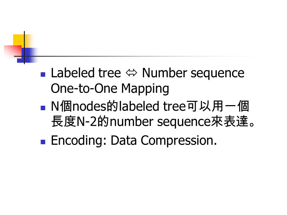 Labeled tree  Number sequence One-to-One Mapping