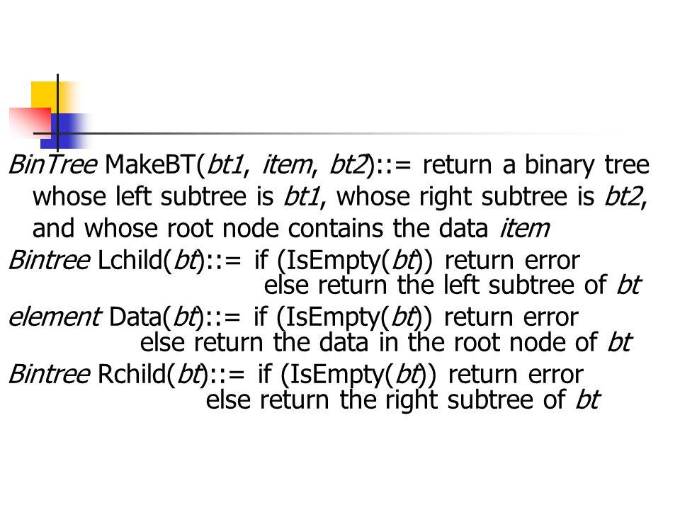 BinTree MakeBT(bt1, item, bt2)::= return a binary tree