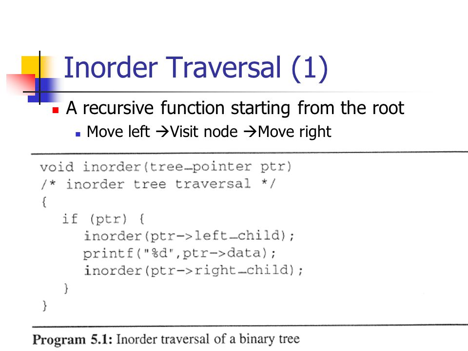 Inorder Traversal (1) A recursive function starting from the root