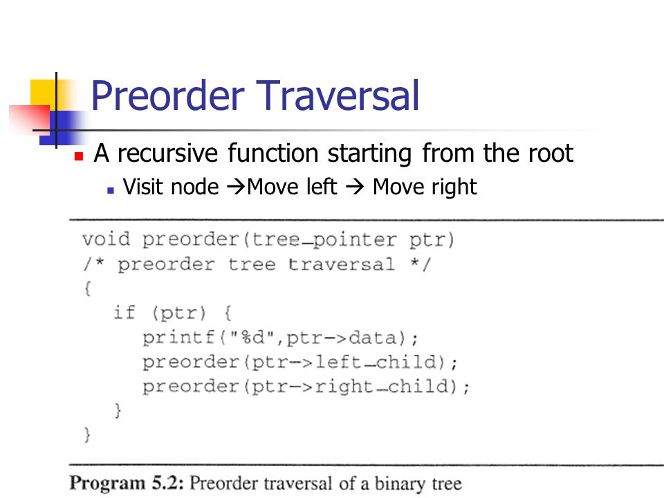 Preorder Traversal A recursive function starting from the root