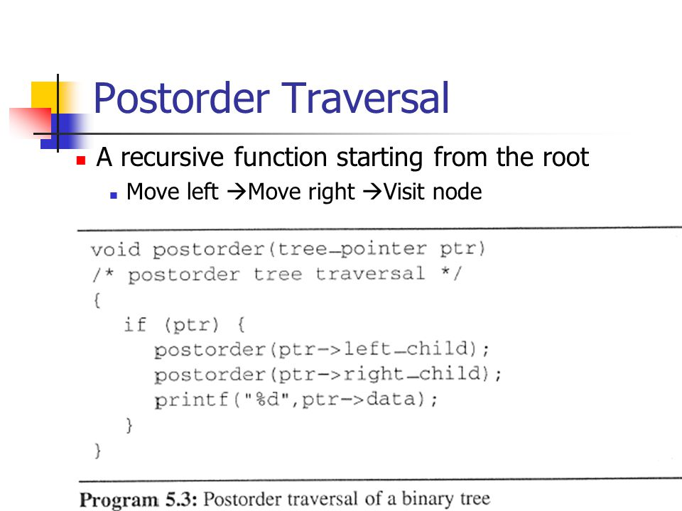 Postorder Traversal A recursive function starting from the root