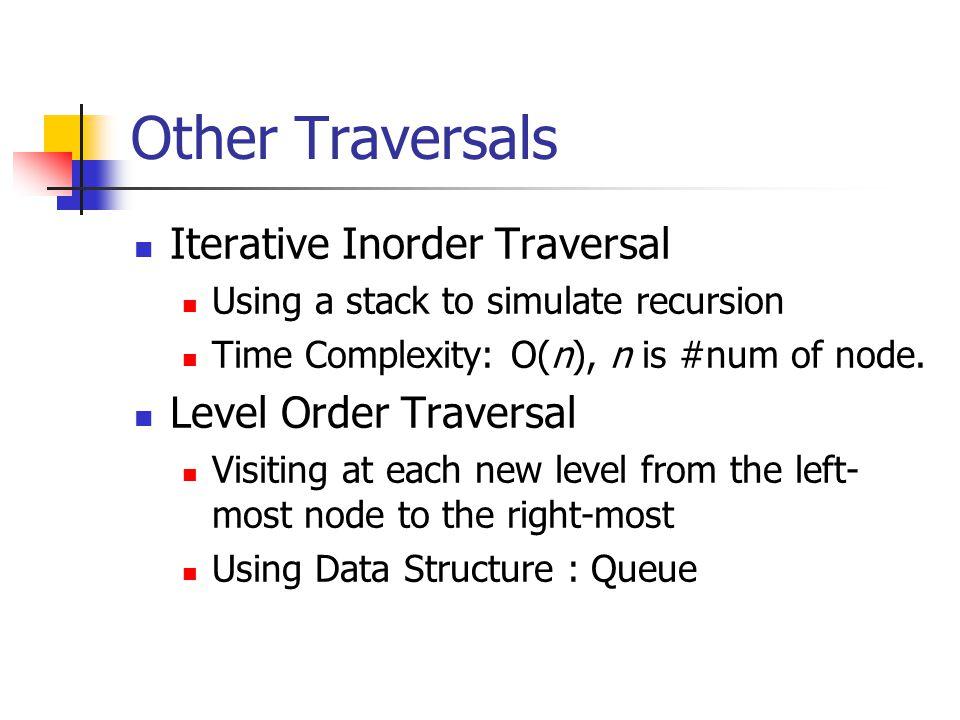 Other Traversals Iterative Inorder Traversal Level Order Traversal