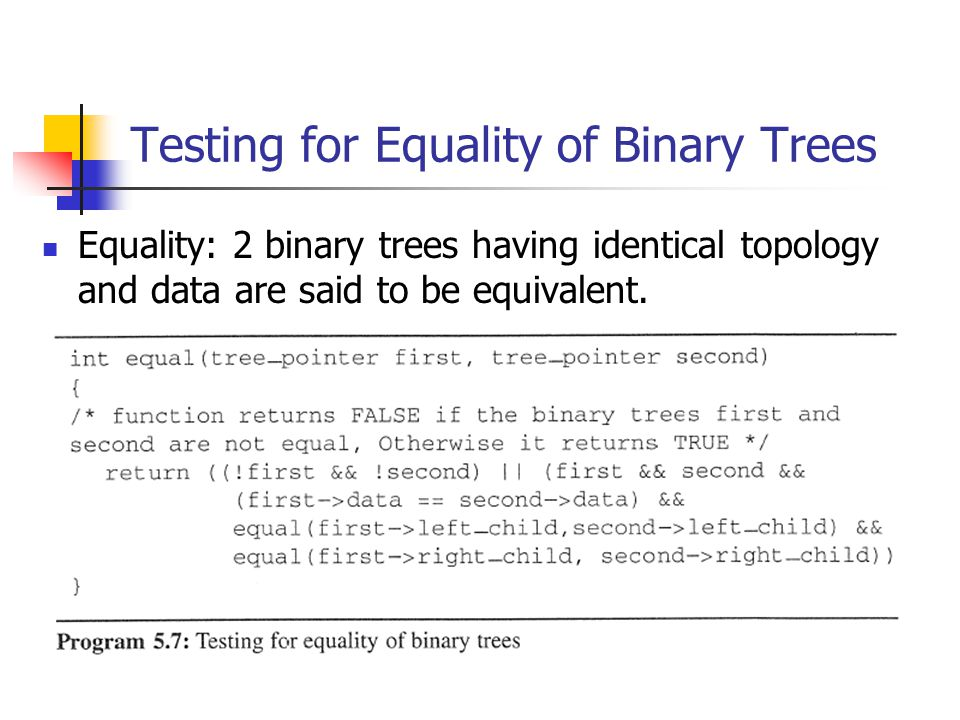 Testing for Equality of Binary Trees