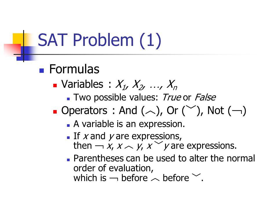 SAT Problem (1) Formulas Variables : X1, X2, …, Xn