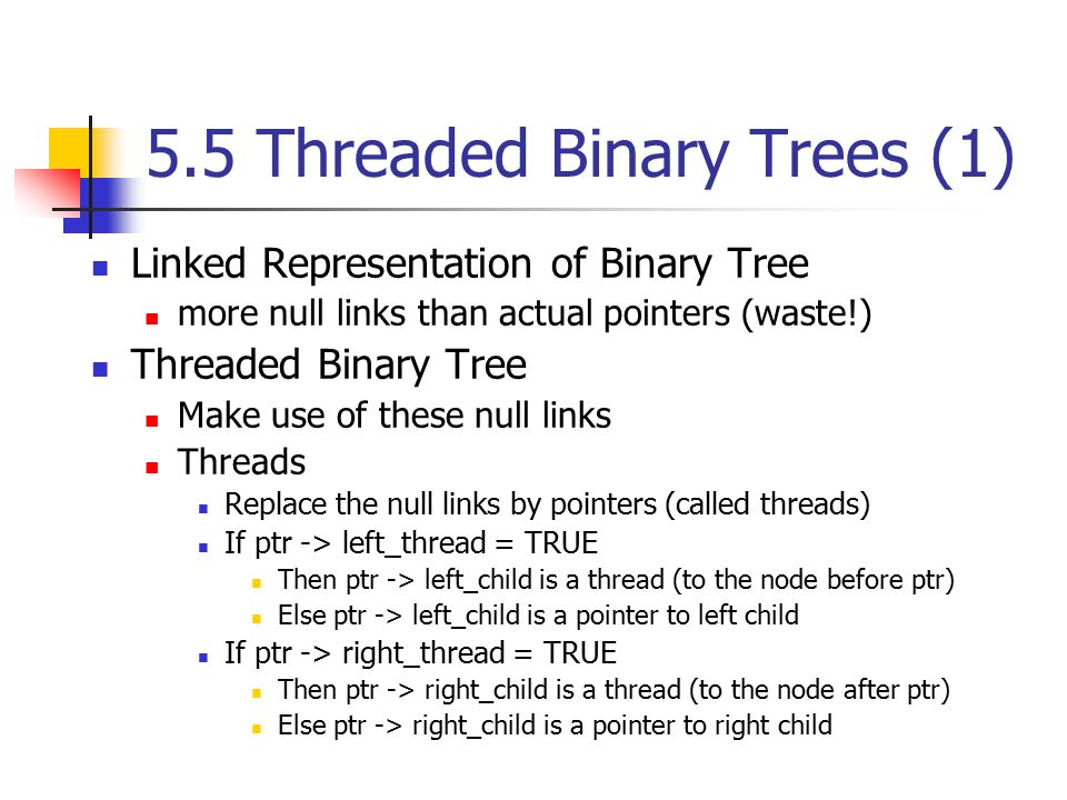 5.5 Threaded Binary Trees (1)