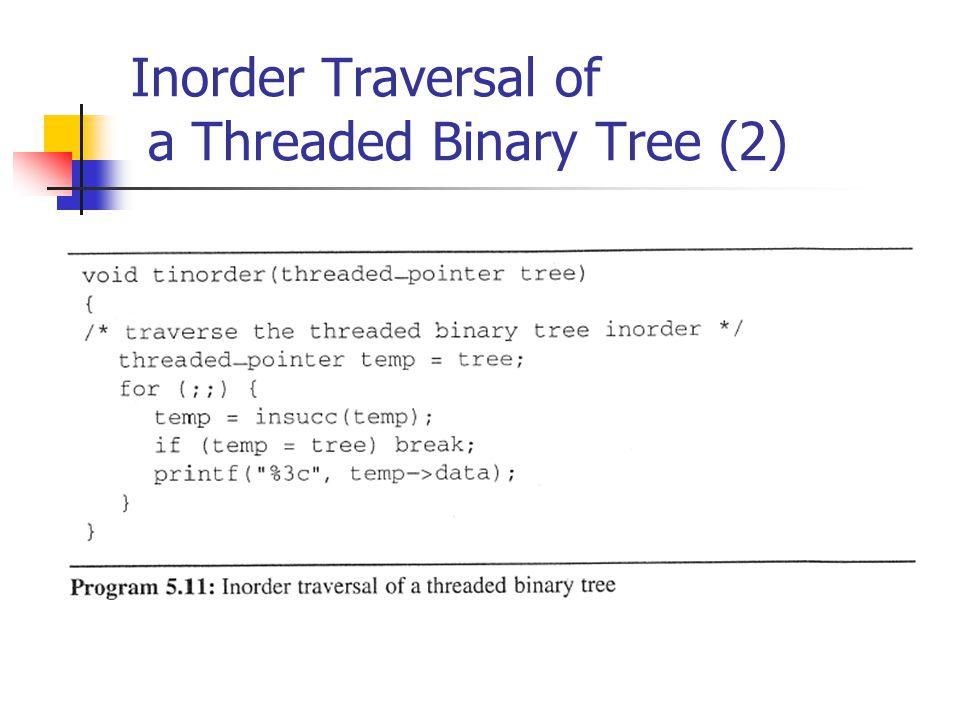 Inorder Traversal of a Threaded Binary Tree (2)