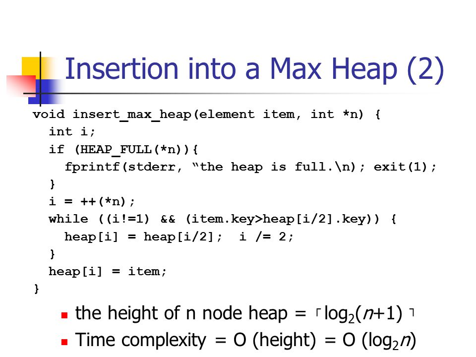 Insertion into a Max Heap (2)