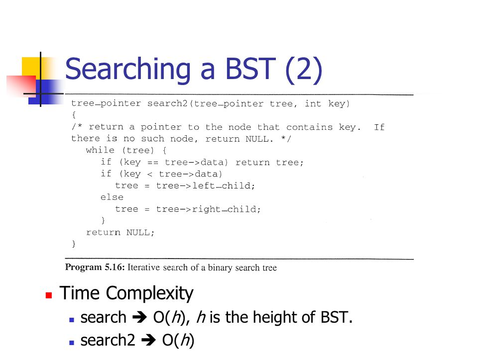 Searching a BST (2) Time Complexity