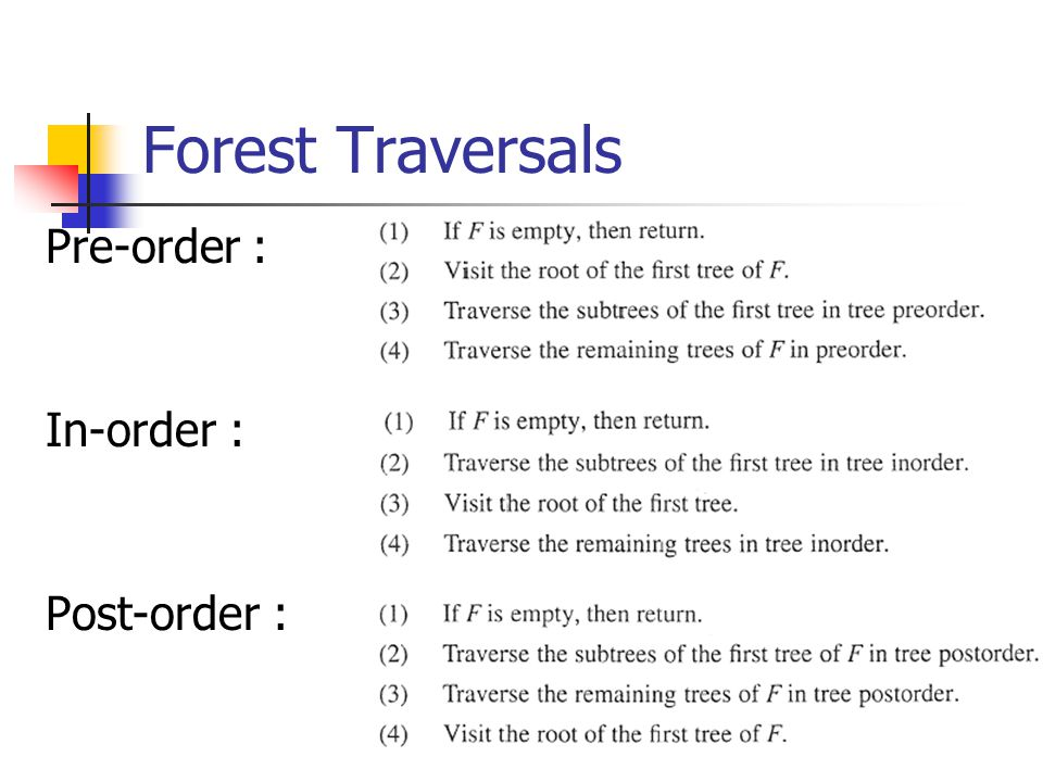 Forest Traversals Pre-order : In-order : Post-order :