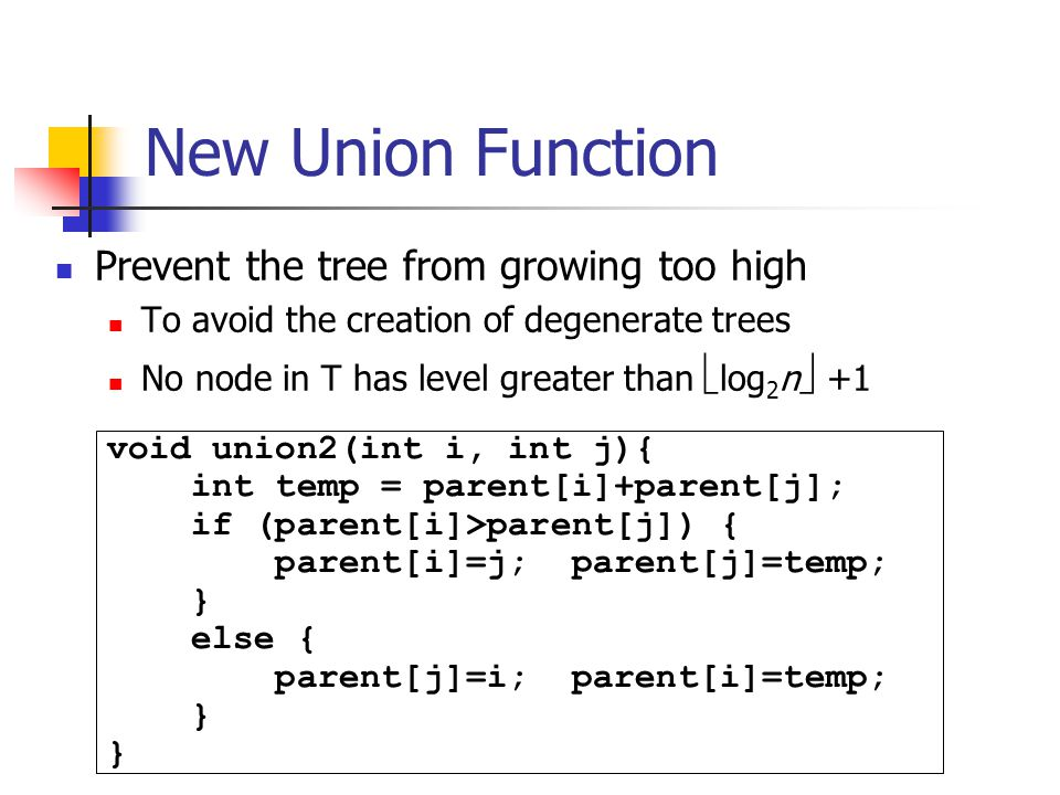 New Union Function Prevent the tree from growing too high