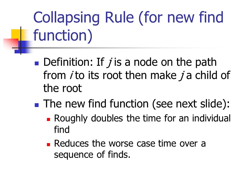 Collapsing Rule (for new find function)