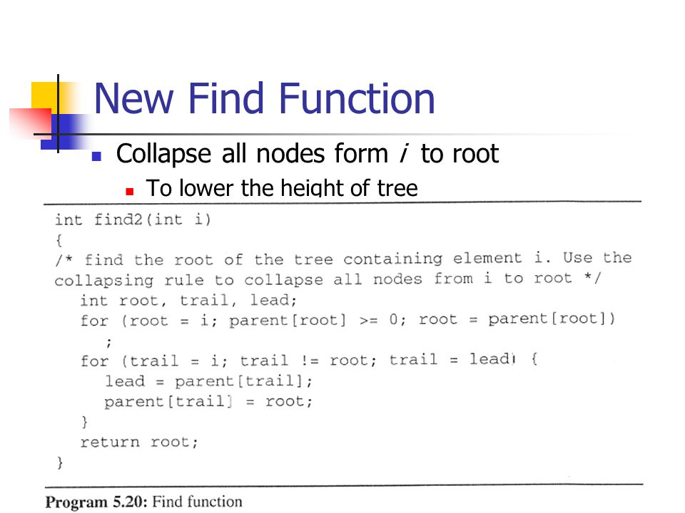 New Find Function Collapse all nodes form i to root