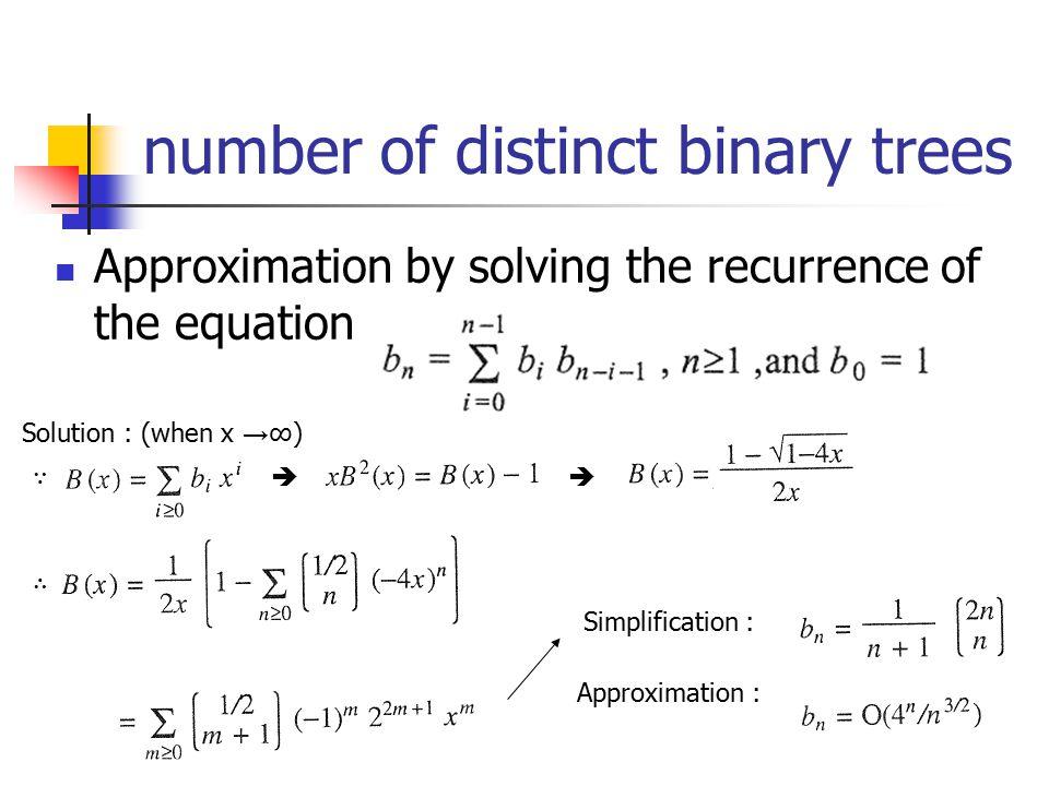 number of distinct binary trees