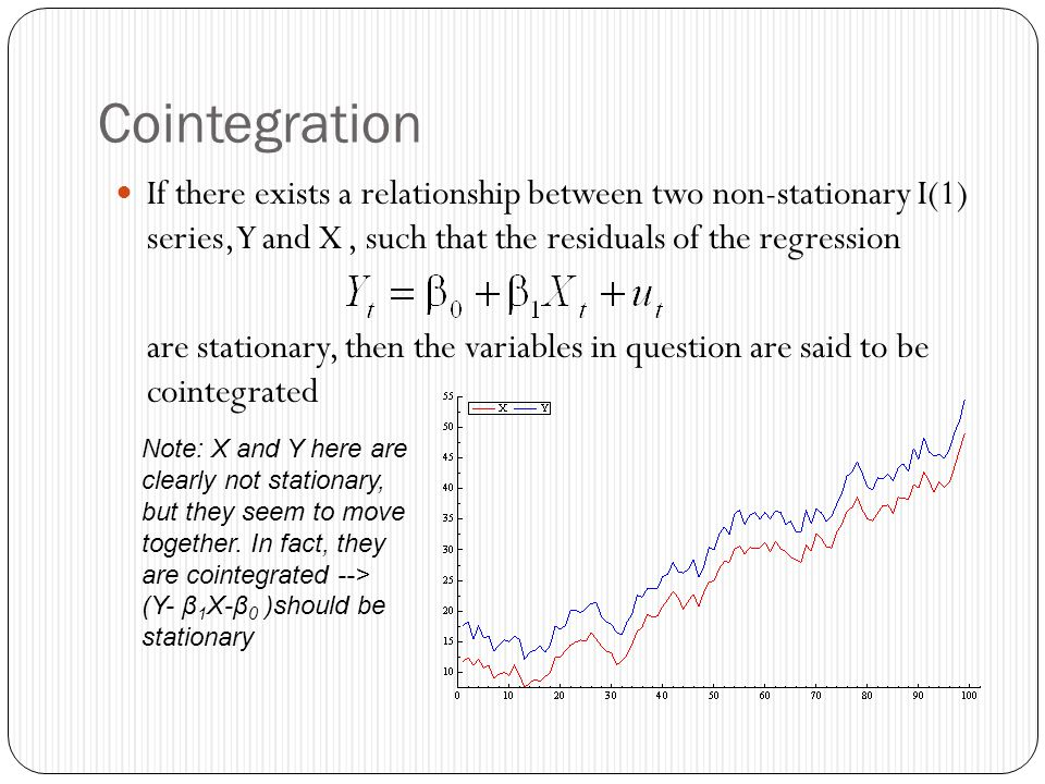 Cointegration If there exists a relationship between two non-stationary I(1) series, Y and X , such that the residuals of the regression.