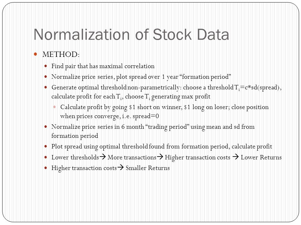 Normalization of Stock Data
