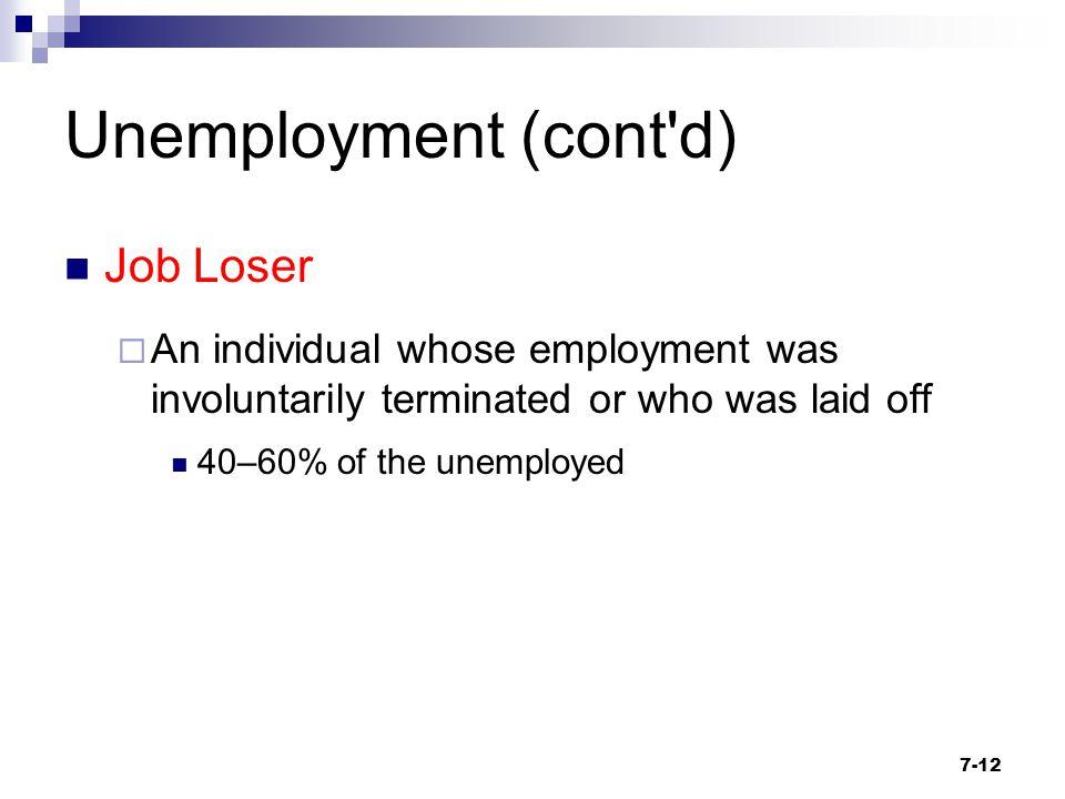 Unemployment (cont d) Job Loser