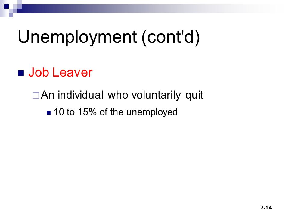 Unemployment (cont d) Job Leaver An individual who voluntarily quit