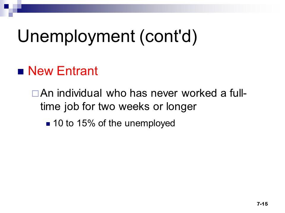 Unemployment (cont d) New Entrant