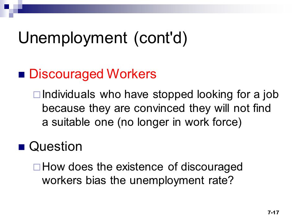Unemployment (cont d) Discouraged Workers Question