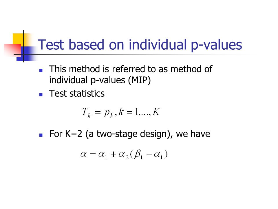 Test based on individual p-values