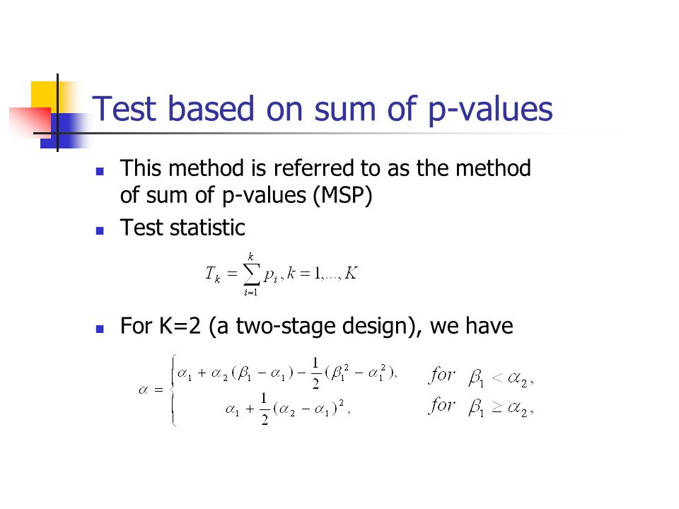Test based on sum of p-values