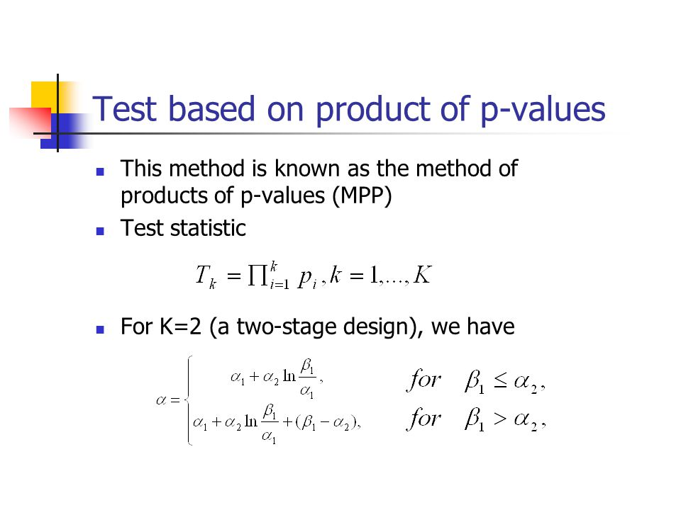Test based on product of p-values