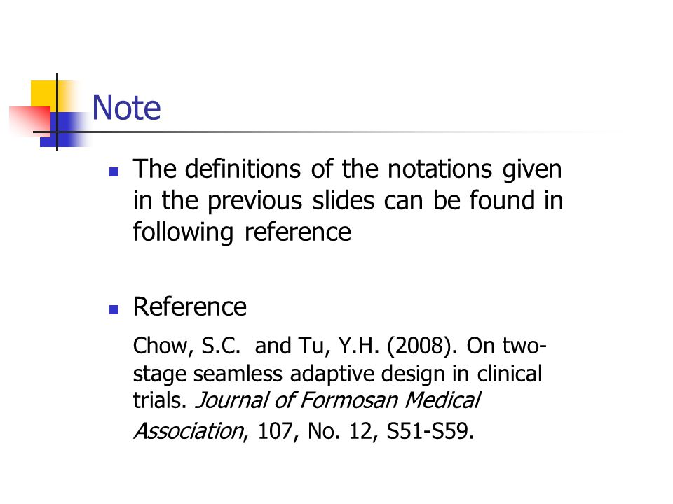 Note The definitions of the notations given in the previous slides can be found in following reference.
