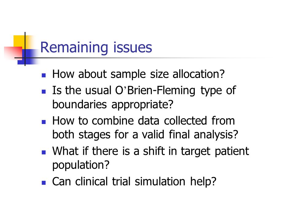Remaining issues How about sample size allocation