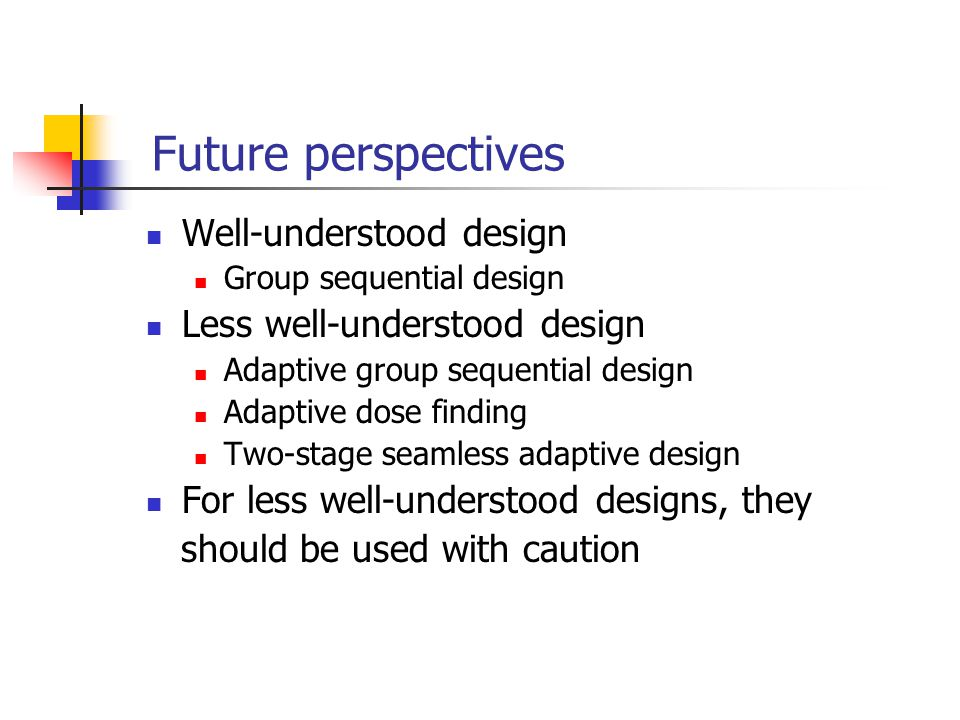 Future perspectives Well-understood design Less well-understood design