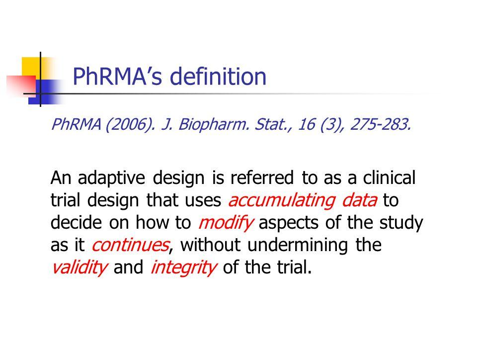 PhRMA (2006). J. Biopharm. Stat., 16 (3), 275-283.
