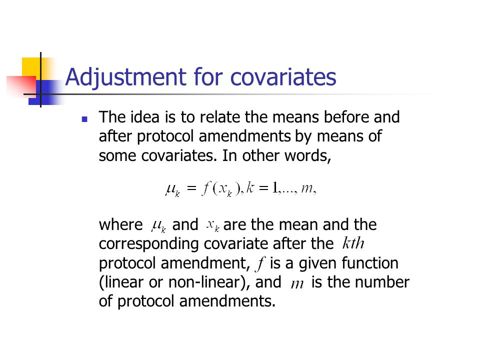 Adjustment for covariates