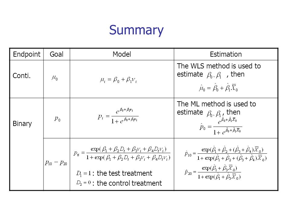 Summary Endpoint Goal Model Estimation Conti.