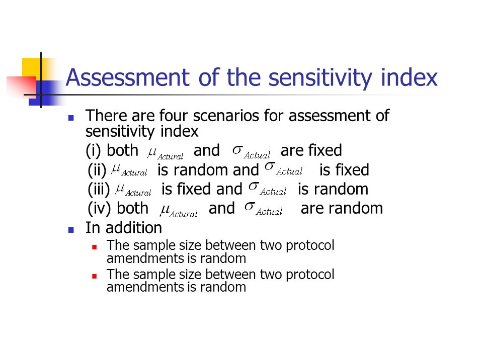Assessment of the sensitivity index