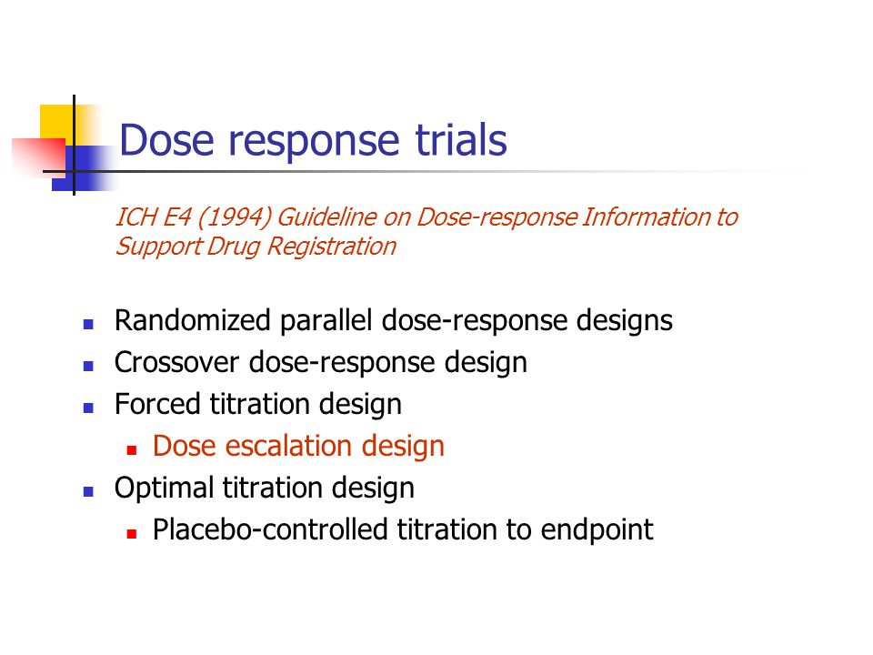 Dose response trials Randomized parallel dose-response designs