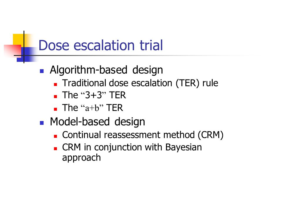 Dose escalation trial Algorithm-based design Model-based design