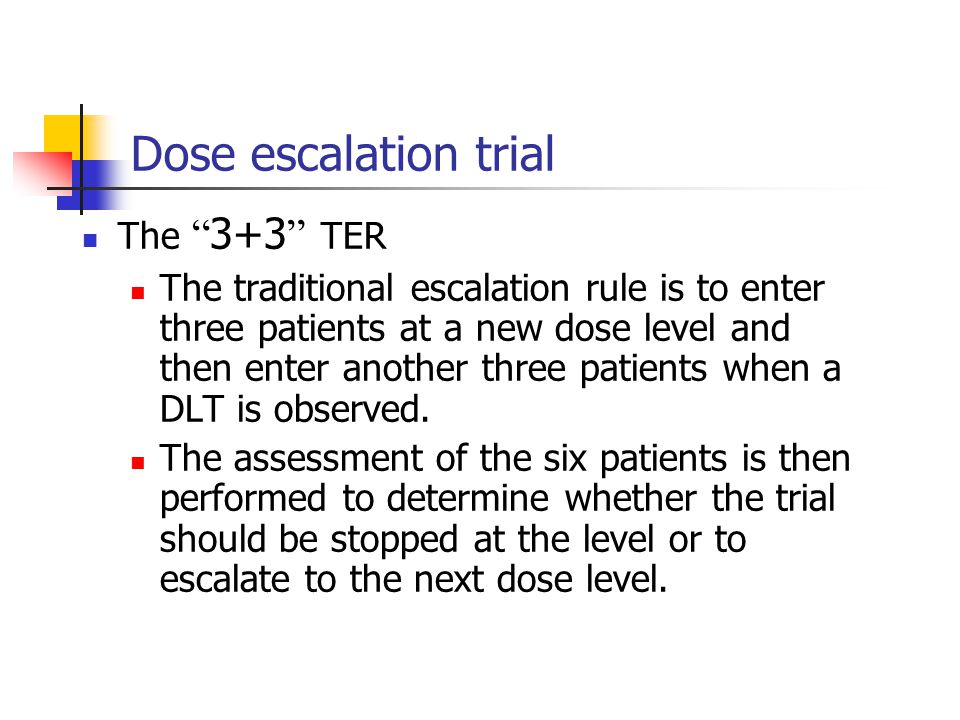 Dose escalation trial The 3+3 TER