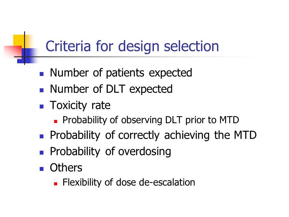 Criteria for design selection