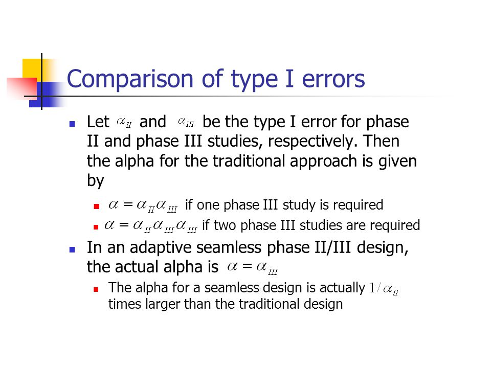 Comparison of type I errors