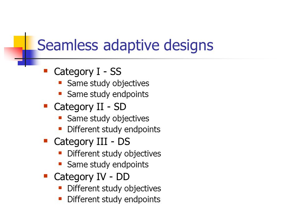 Seamless adaptive designs