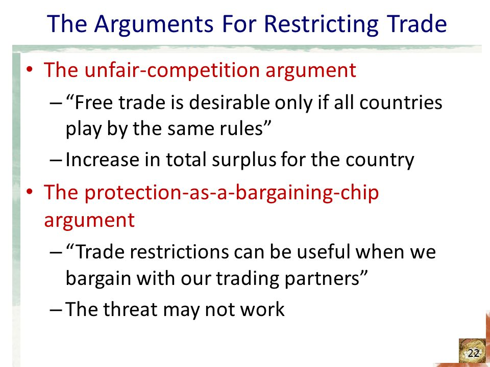 The Arguments For Restricting Trade