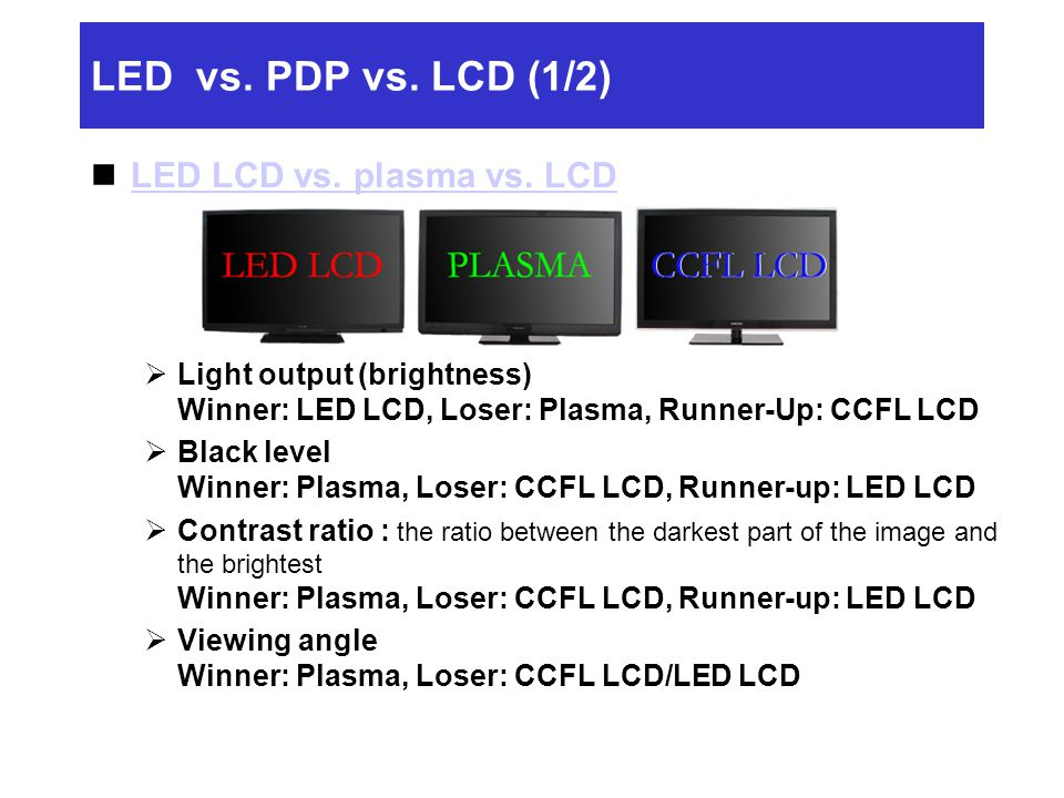LED vs. PDP vs. LCD (1/2) LED LCD vs. plasma vs. LCD