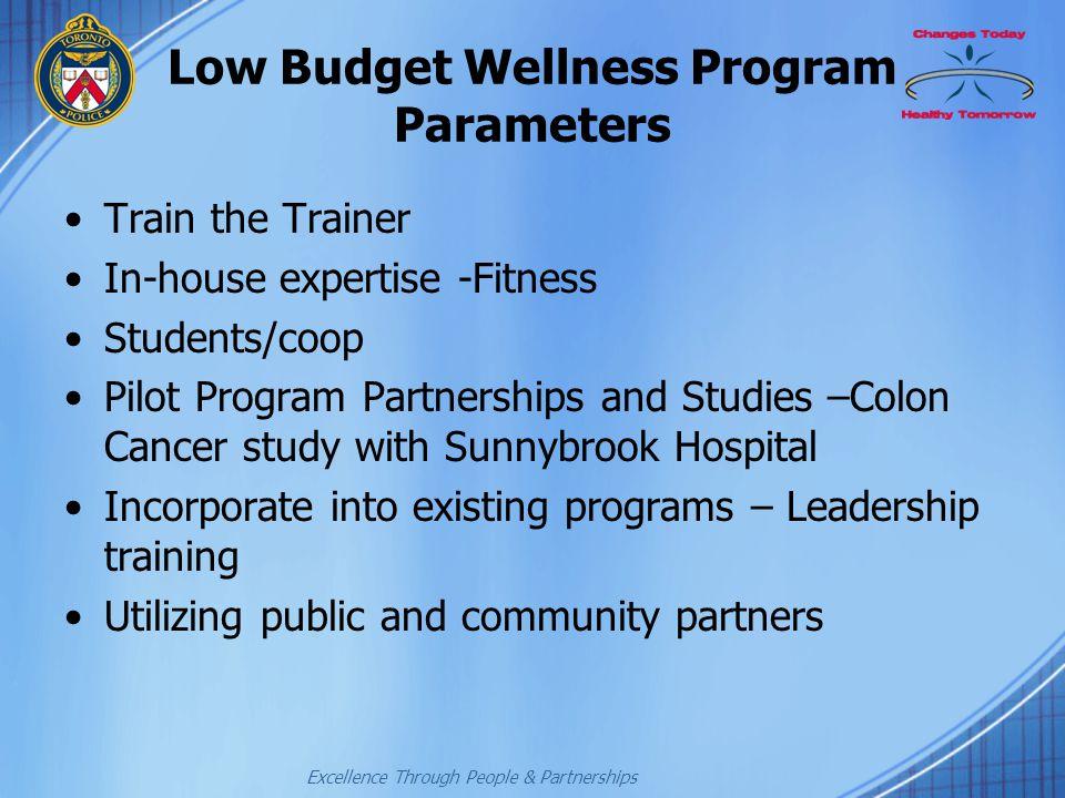 Low Budget Wellness Program Parameters