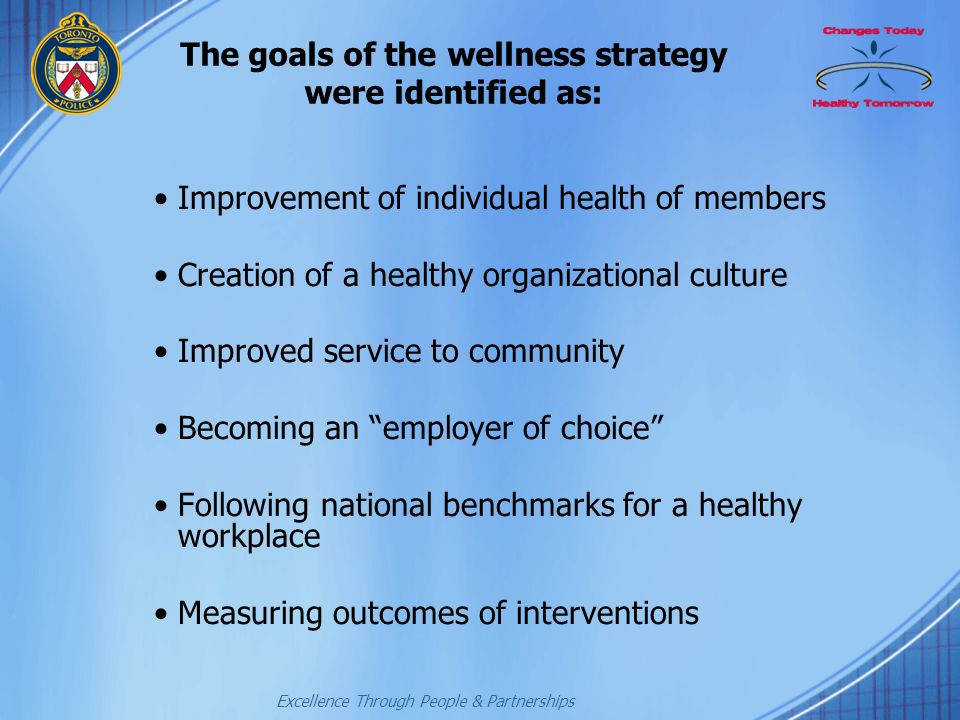 The goals of the wellness strategy were identified as: