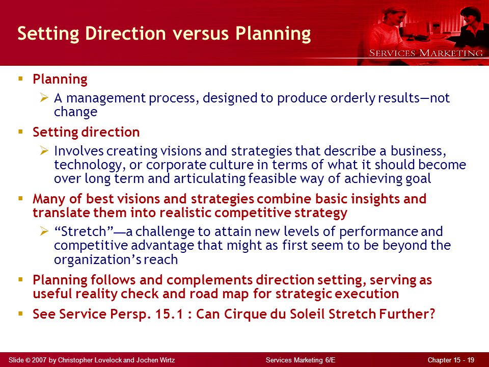 Setting Direction versus Planning