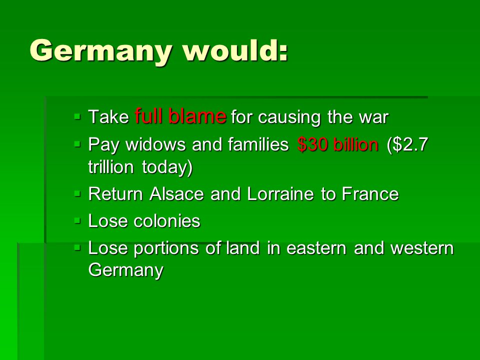 Germany would: Take full blame for causing the war