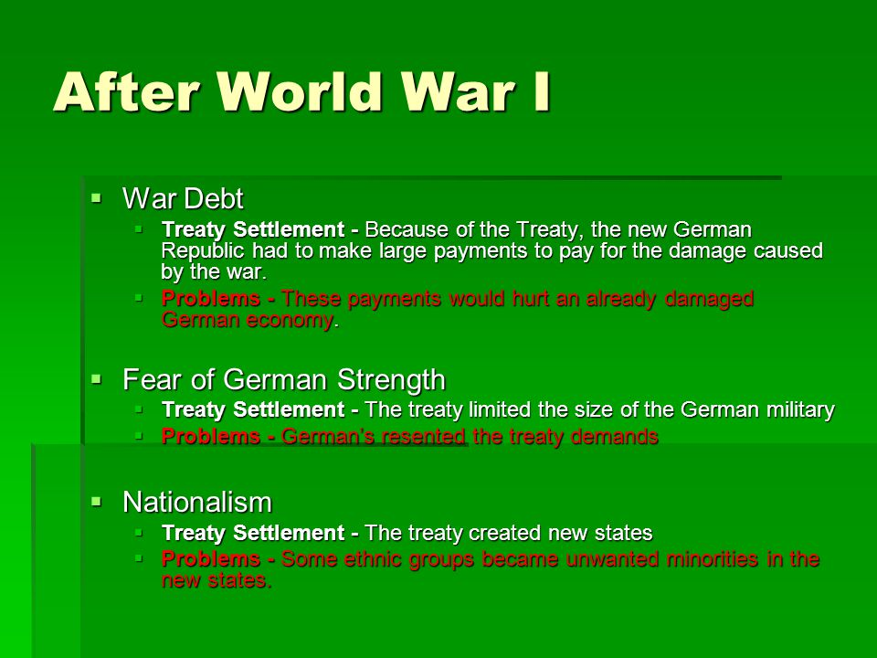 After World War I War Debt Fear of German Strength Nationalism
