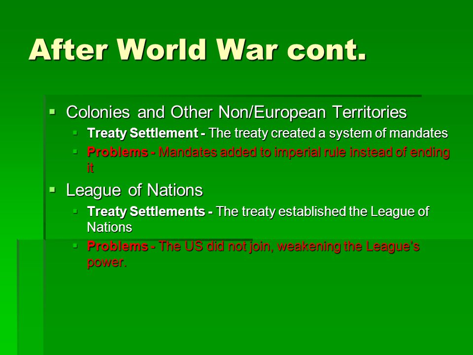 After World War cont. Colonies and Other Non/European Territories