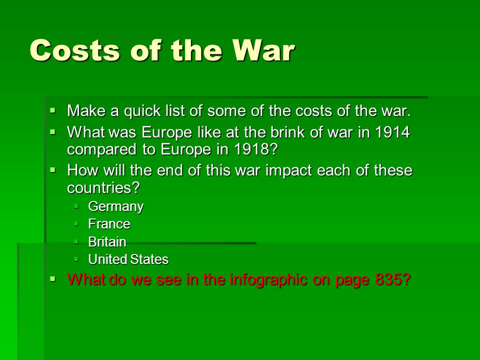 Costs of the War Make a quick list of some of the costs of the war.