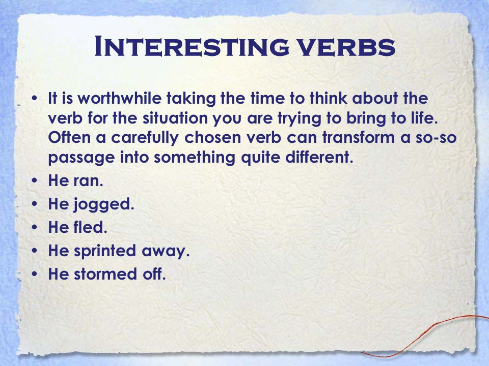 Interesting verbs